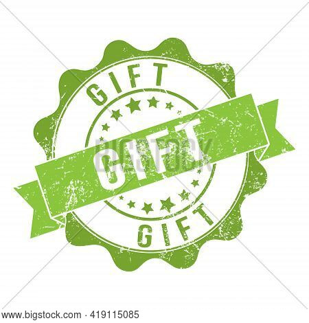 Gift. Stamp Impression With The Inscription. Old Worn Vintage Stamp. Stock Vector Illustration.