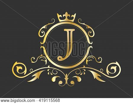 Golden Stylized Letter J Of The Latin Alphabet. Monogram Template With Ornament And Crown For Design