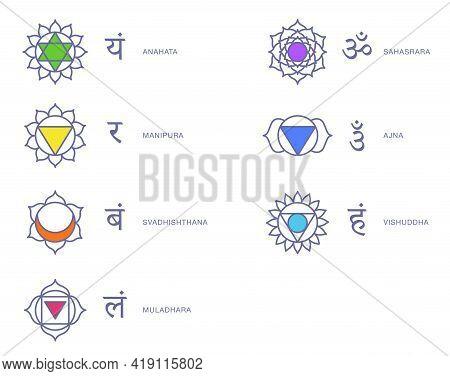 Body Chakras Energy Symbols Sacred Vector Set