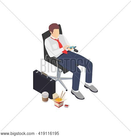 Professional Burnout Depression Frustration Isometric Composition With Business Worker Staring At Sm