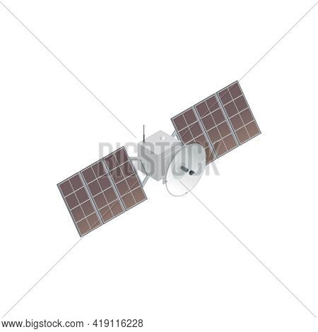 5g High Speed Internet Isometric Composition With Space Satellite With Solar Batteries And Telecommu