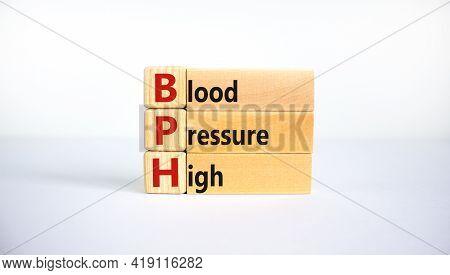 Medical And Bph, Blood Pressure High Symbol. Wooden Blocks With The Word 'bph, Blood Pressure High'.