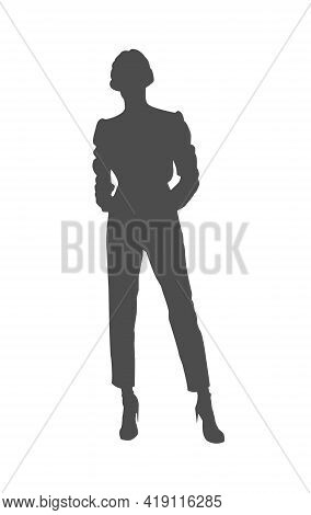 Women's Silhouette For A Stamp Or Stencil For Scrapbooking And Decorative Embossing, A Template For