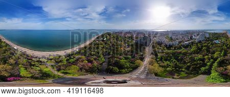 Beautiful Aerial Panorama View Of The Burgas Bay And The Sea Garden Of Burgas, Bulgaria.
