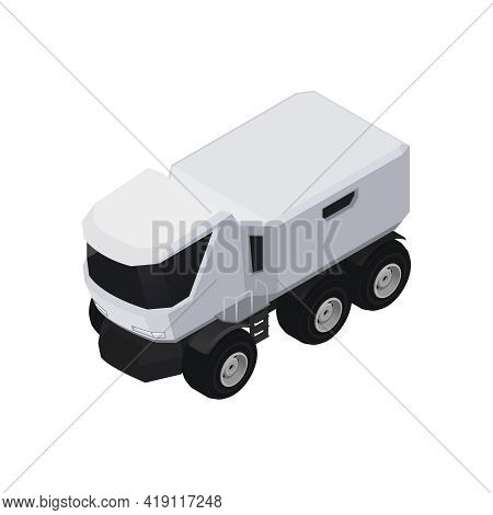 Black And White Mars Expedition Rover Vehicle 3d Icon Isometric Vector Illustration
