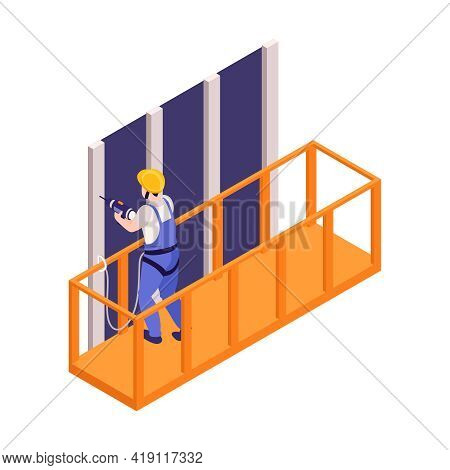 Ironworker Working With Drill Standing In Construction Cradle Isometric Vector Illustration
