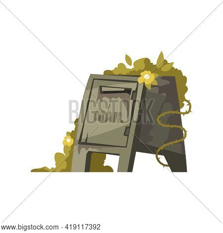 Cartoon Post Apocalypse Icon Of Overgrown With Vines Damaged Mail Box Vector Illustration