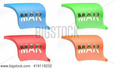 Mar For March Colorful Icon Set - 3d Rendering Illustration