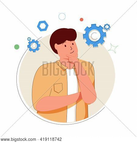 Technology Thinking, Cute Cartoon Mechanic, Or Developer Surrounded By Flying Gears. Product Develop