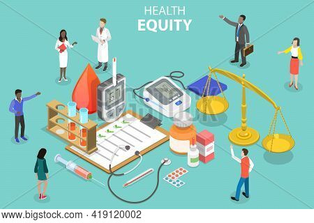 3d Isometric Flat Vector Conceptual Illustration Of Health Equity
