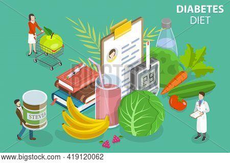 3d Isometric Flat Vector Conceptual Illustration Of Diabetic Food