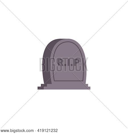 Funeral Services Composition Of Flat Isolated Image Of Gravestone With Rest In Peace Text Vector Ill