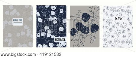 Cover Page Vector Templates With Fig Tree Branches And Fruit. Headers Isolated And Replaceable