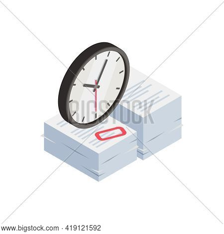 Professional Burnout Depression Frustration Isometric Composition With Images Of Clock And Stack Of