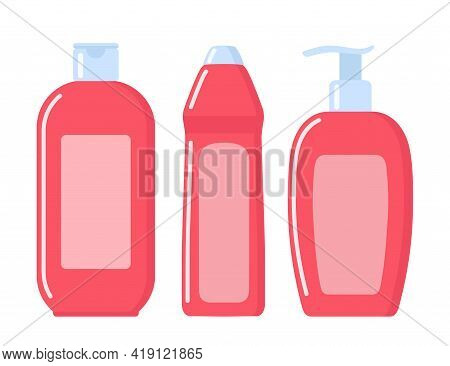 Set Of Pink Cosmetic Bottles In Flat Style. Soap, Shampoo, Lotion Pink Bottles. Vector Illustration