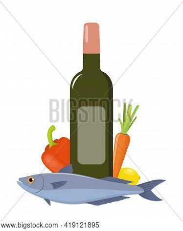 White Wine And Fish With Vegetables. Set Of Products For Dinner. Flat Style Vector Illustration