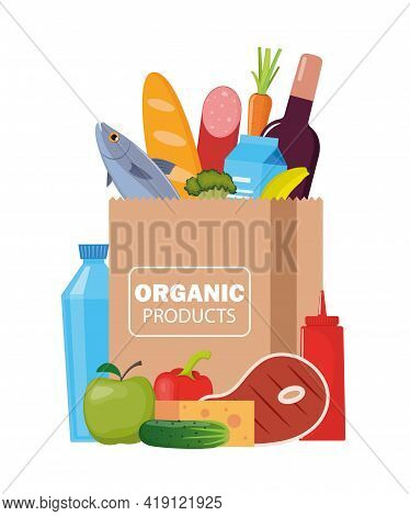 Paper Package With Fresh Healthy Products. Organic Food From The Farm. Vegetables, Bread, Dairy Prod