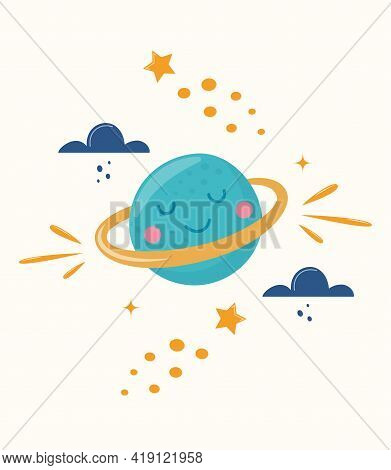 Cute Planet Character. Cartoon Illustration For Children's Fashion Fabrics, Textile Graphics, Prints