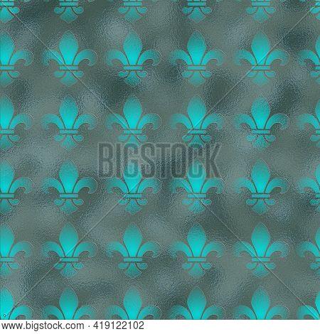 Royal Lily Fleur De Lis Seamless Pattern. Illustration. Classical French Golden Fleur-de-lis Seamles