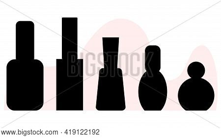 Set Of Nail Polishes, Black Silhouettes Of Manicure Bottles, Collection Vector Illustration, Differe