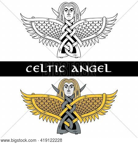 Angel In Celtic Style. Image Of An Angel For A Sketch Of A Tattoo.