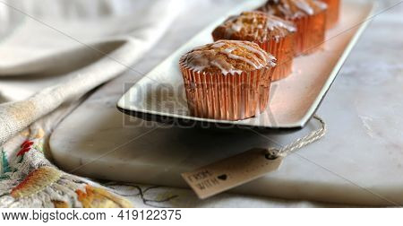 Sweet Pastries,powdered Sugar, Sweet Cakes On Marble. Cup Cakes On A Kitchen Table. Vintage Sweets,