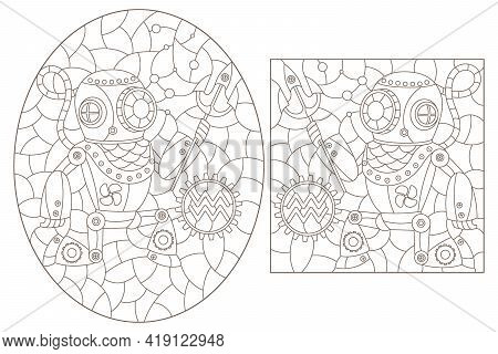 Set Of Contour Illustrations In The Style Of Stained Glass With Steam Punk Signs Of The Zodiac Sagit