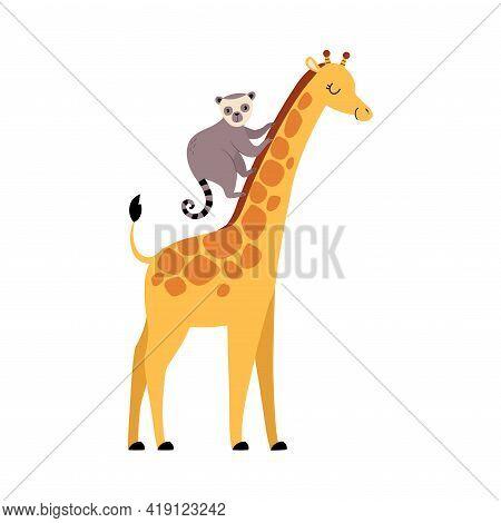 Cute Lemur And Giraffe Baby Animals, Exotic Tropical Fauna Element, African Savanna Inhabitant Carto