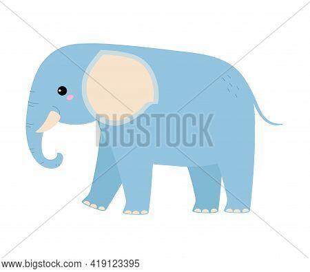 Cute Elephant Baby Animal, Exotic Tropical Fauna Element, African Savanna Inhabitant Cartoon Vector