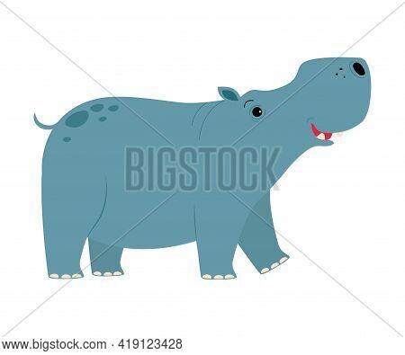 Cute Hippopotamus Baby Animal, Exotic Tropical Fauna, African Savanna Inhabitant Cartoon Vector Illu
