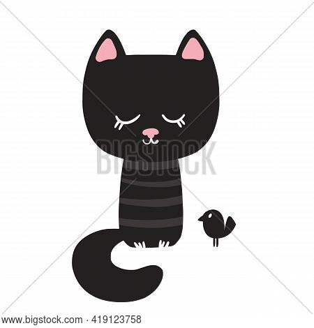 Nice Black Cat. Vector Illustration. Vector Illustration In Cartoon Style. Isolated Clipart On White