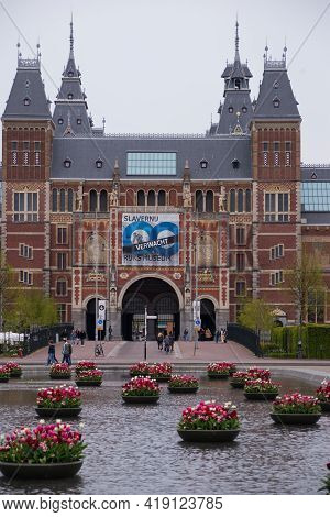 April 28, 2021, Amsterdam, Netherlands, Rijksmuseum, National Museum, During The Covid-19, With The
