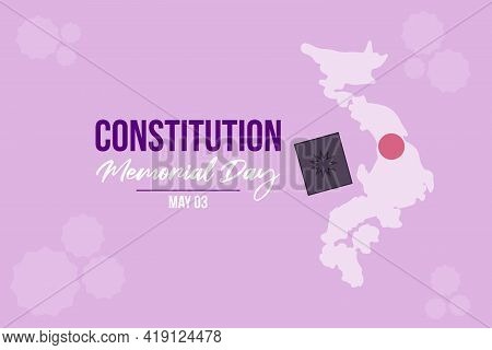 Japanese Constitution Memorial Day Vector Background. A Book And Japan Map In The Background.
