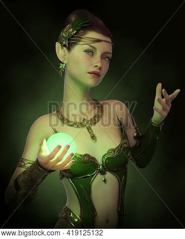 3d Computer Graphics Of A Fairy With Green Dress And A Luminous  Ball In Her Hand