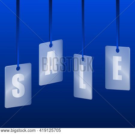 Translucent Glass Or Plastic Cards With Letters Sale On Blue Silk Ribbons With Blue Background. Vect