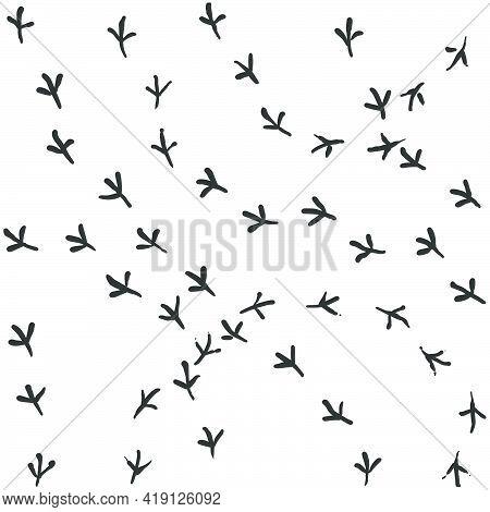 Seamless Vector Pattern Of A Dove Bird Footprints