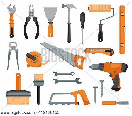 Set Of Tools Of A Joiner And Repairman. Devices For Construction And Mechanics. Vector Illustration