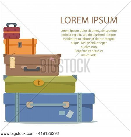 Suitcases On A White Isolated Background. Place For Your Text. The Concept Of Vacation, Vacation And