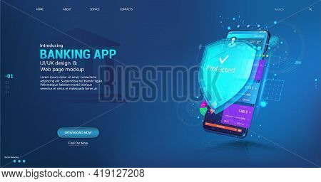 Online Banking App And Data Protection And Money Protection. Web Payment With Credit Debit Card Nfc