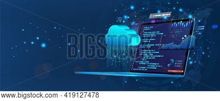 Laptop With Programming Code On Screen With Software Development Ui And Saving Data To Cloud Storage