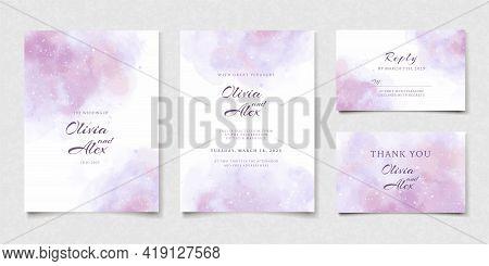 Elegant Hand Drawing Wedding Invitation Template. Watercolor Pink Purple Wedding Invitation