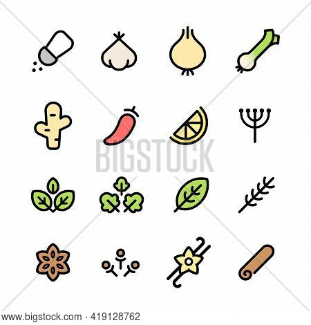 Spices And Herbs Icon Set. Simple And Minimal Pictograms Of Common Aromatics And Seasonings. Vector
