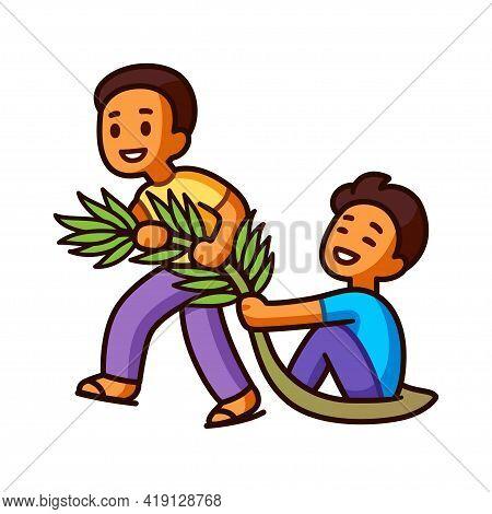 Tarik Upih, Traditional Malaysian Game Of Palm Frond Sledding. Two Cute Cartoon Boys Having Fun. Vec