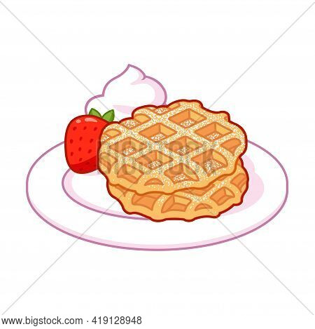 Liege Waffle With Powdered Sugar, Whipped Cream And Strawberries. Traditional Belgian Dessert Vector