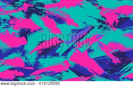 Neon Seamless Camouflage Pattern Of Brush Strokes. Multicolor Camouflage In Cyberpunk Style With Neo