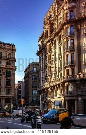 Barcelona, Spain - October 28, 2015: Facade Of The Hotel Ohla With 1000 Eyeballs Installed In Barcel