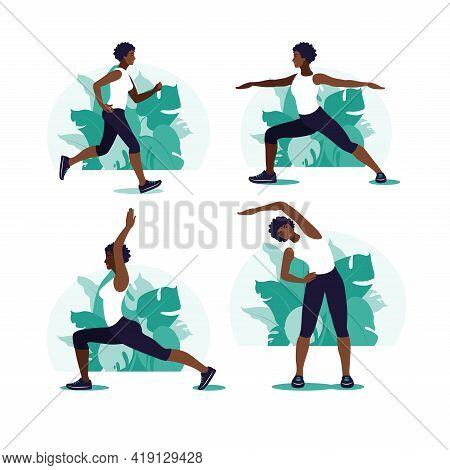 African Woman Exercising In The Park. Outdoor Sports. Healthy Lifestyle And Fitness Concept. Vector