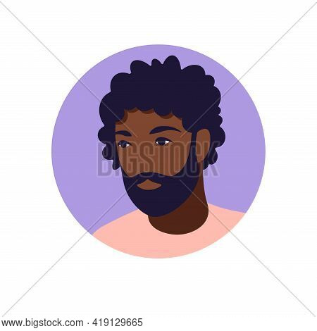 African Man Avatar, Portrait Of A Young African Man In Retro Style. Portrait Of A Man. Minimalist. F