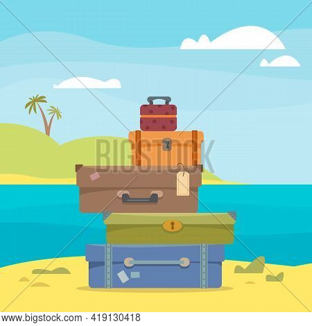 Suitcases And Bags Against The Backdrop Of The Seascape, Sea And Palm Trees. The Concept Of Vacation