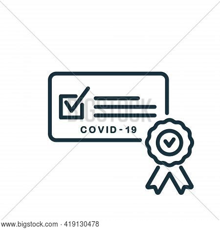 Vaccine Passport Line Icon. Vaccination Medical Card Or Passport Icon For Travel. Certificate Of Vac